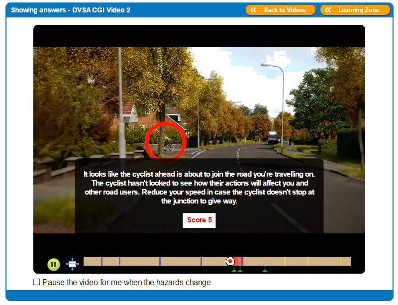 An example of a Driving Theory 4 All Hazard Perception Test Answer Video