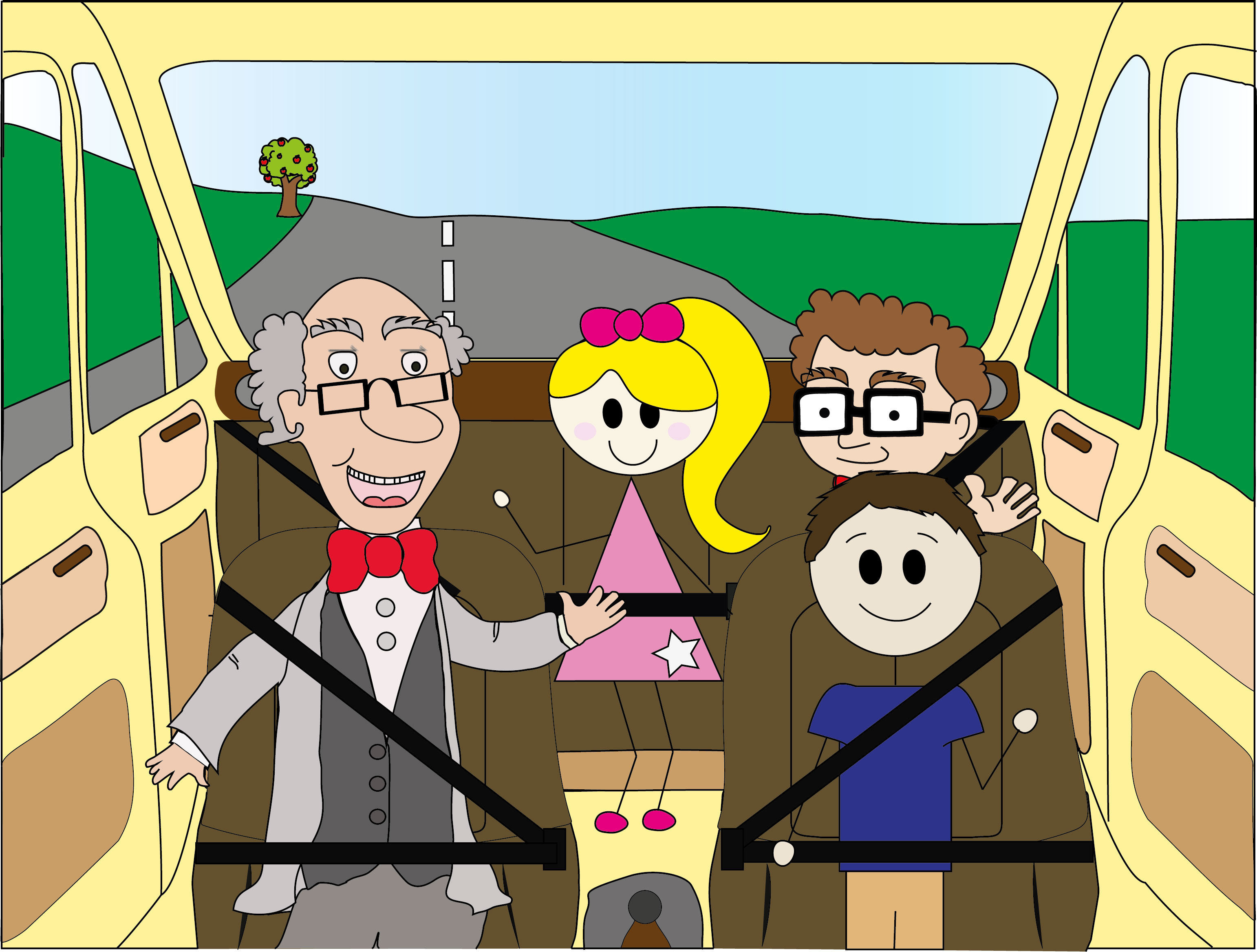 The Stick and Theory Family in the Car